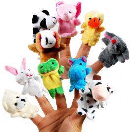 Baby Plush Animal Finger Hand Puppets – 10 pcs/lot