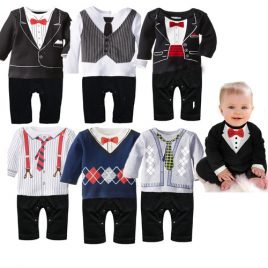 Baby Tuxedo And Suit Rompers With Tie Or Bow