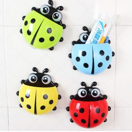 Lovely Ladybug Toothbrush Holder with Suction Cups