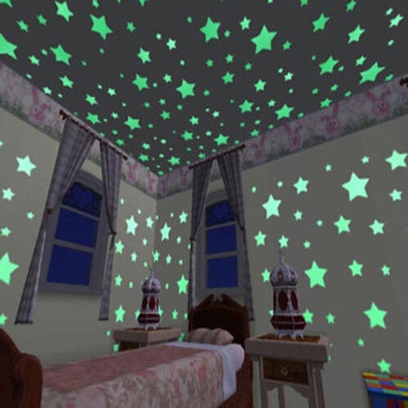 glowing stars wall stickers 100pcs - kidsbaron