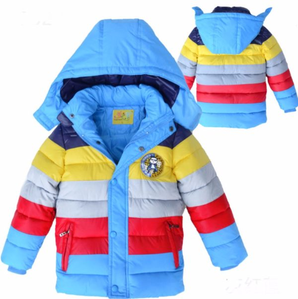 the light blue version front view of our new 2017 rainbow colored jackets for boys and girls