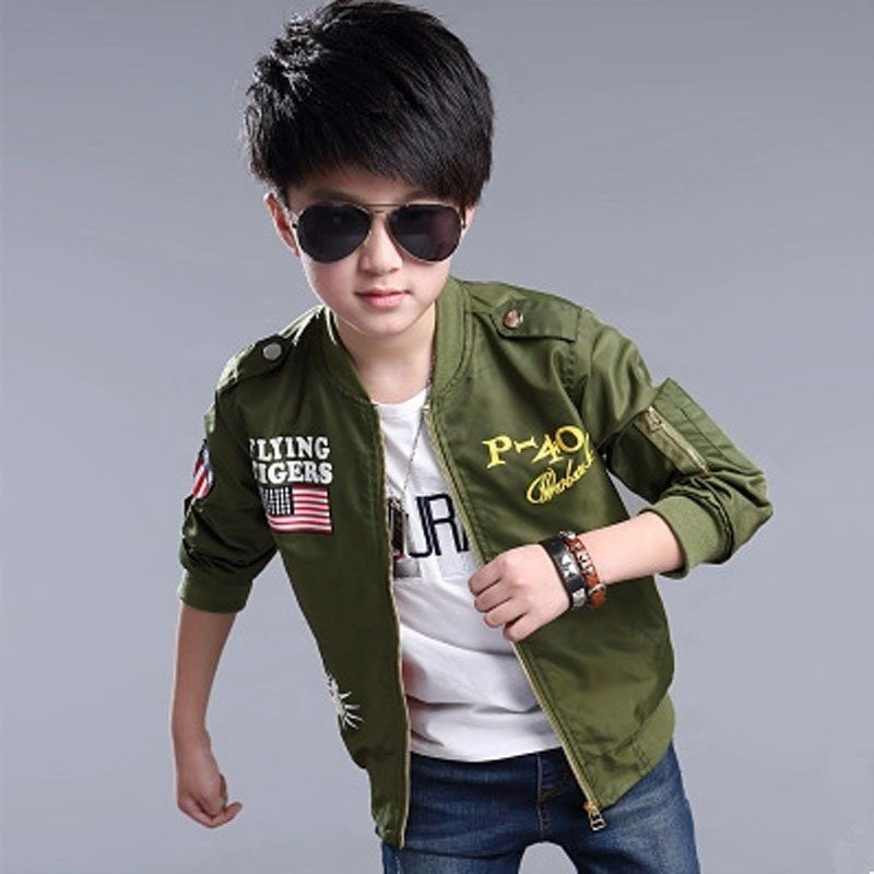 kids aviator jacket in army green