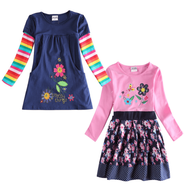 spring flower dresses in navy and pink
