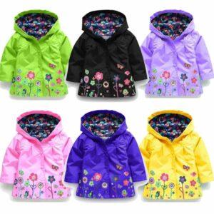 spring flower jackets for children kids rain repellent rain jacket