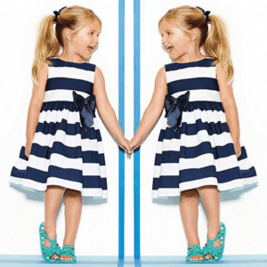 2017 spring / summer dress for girls with bow in blue and white