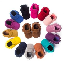 baby moccasins suede style for kids from 0-18 months