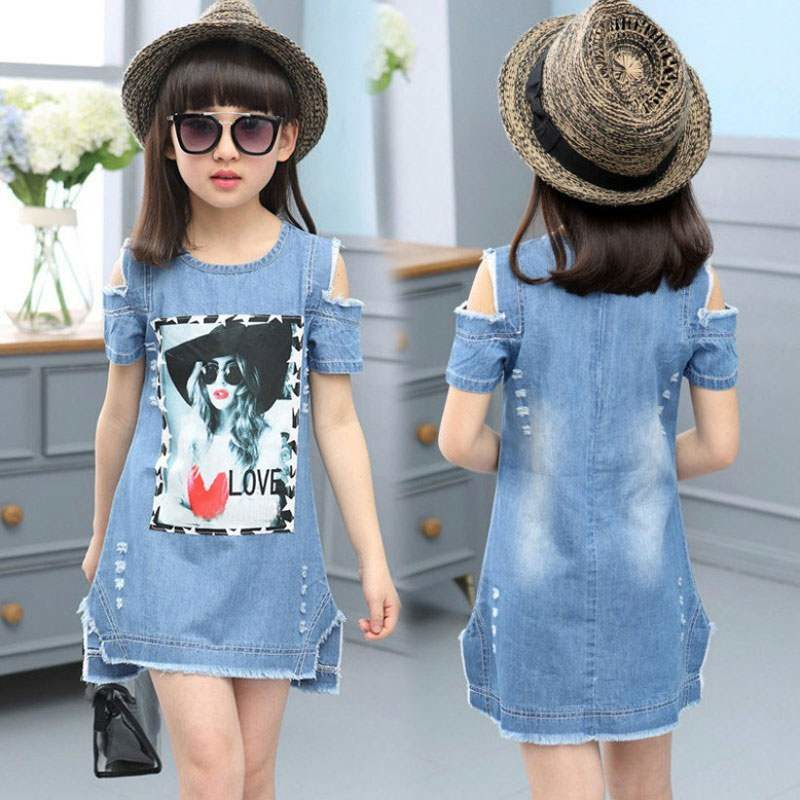 denim dress for girl from 4-11 years