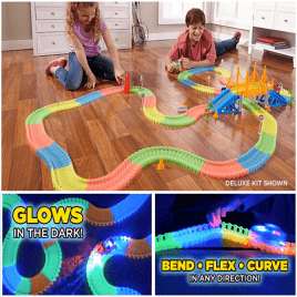 glowing race tracks 240 pieces super set with led car
