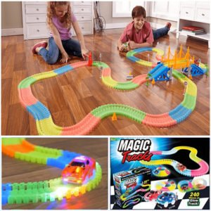 glowing race tracks magic tracks glow in the dark bend flex as seen on tv
