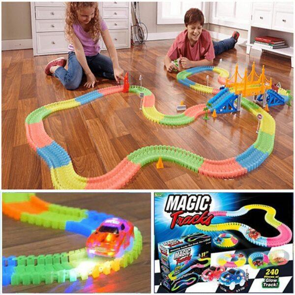 glowing race tracks magic tracks glow in the dark bend flex as seen on tv