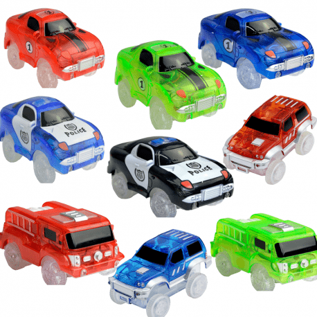 extra led cars for magic tracks police fire truck racing car