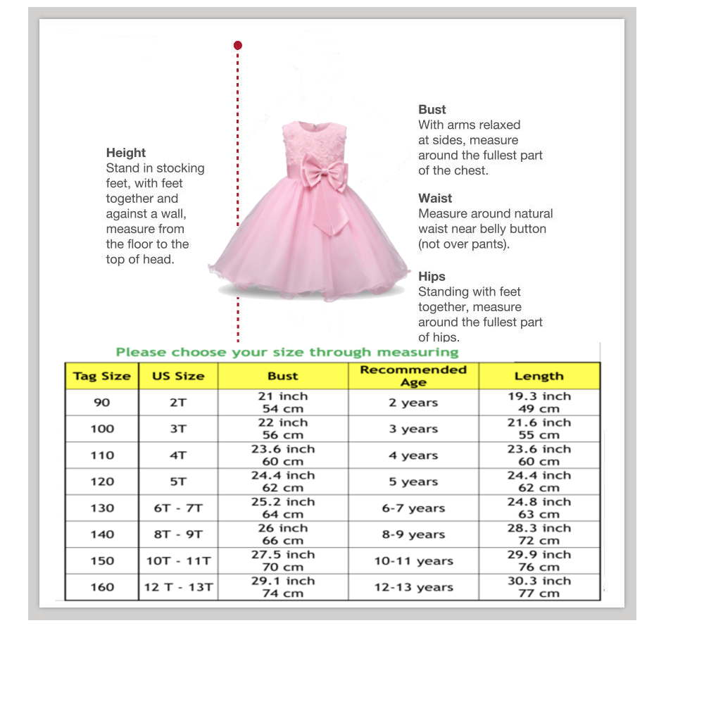 princess flower dress size chart