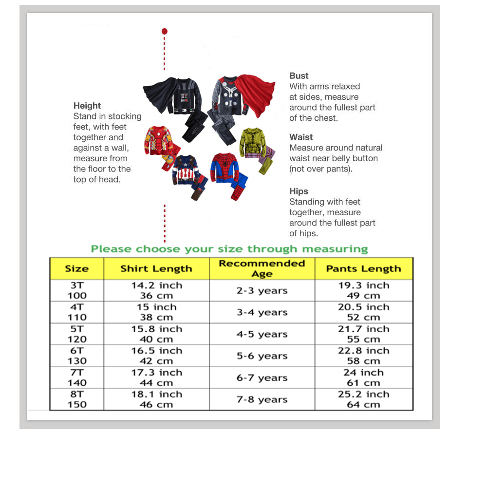 super hero suit pajamas size chart