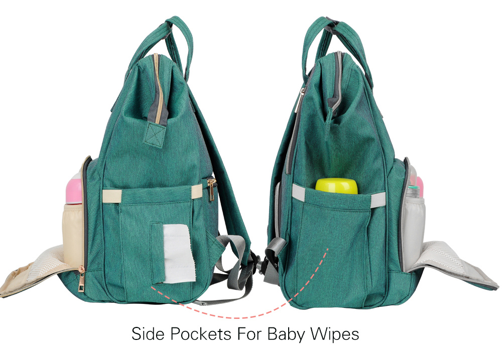 designer nappy diaper bag side pockets