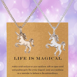 unicorn necklace charm gold silver life is magical