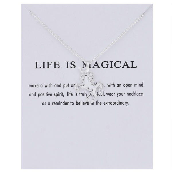 magical unicorn necklace silver