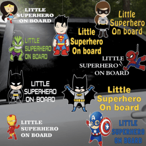 little superhero on board car sticker