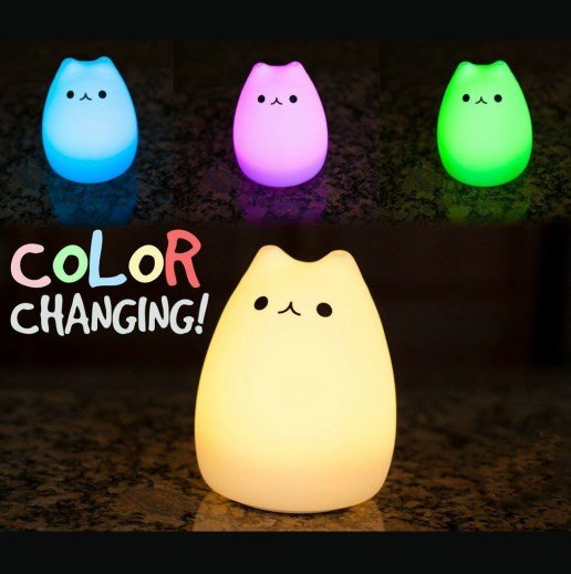 color changing cat led lamp