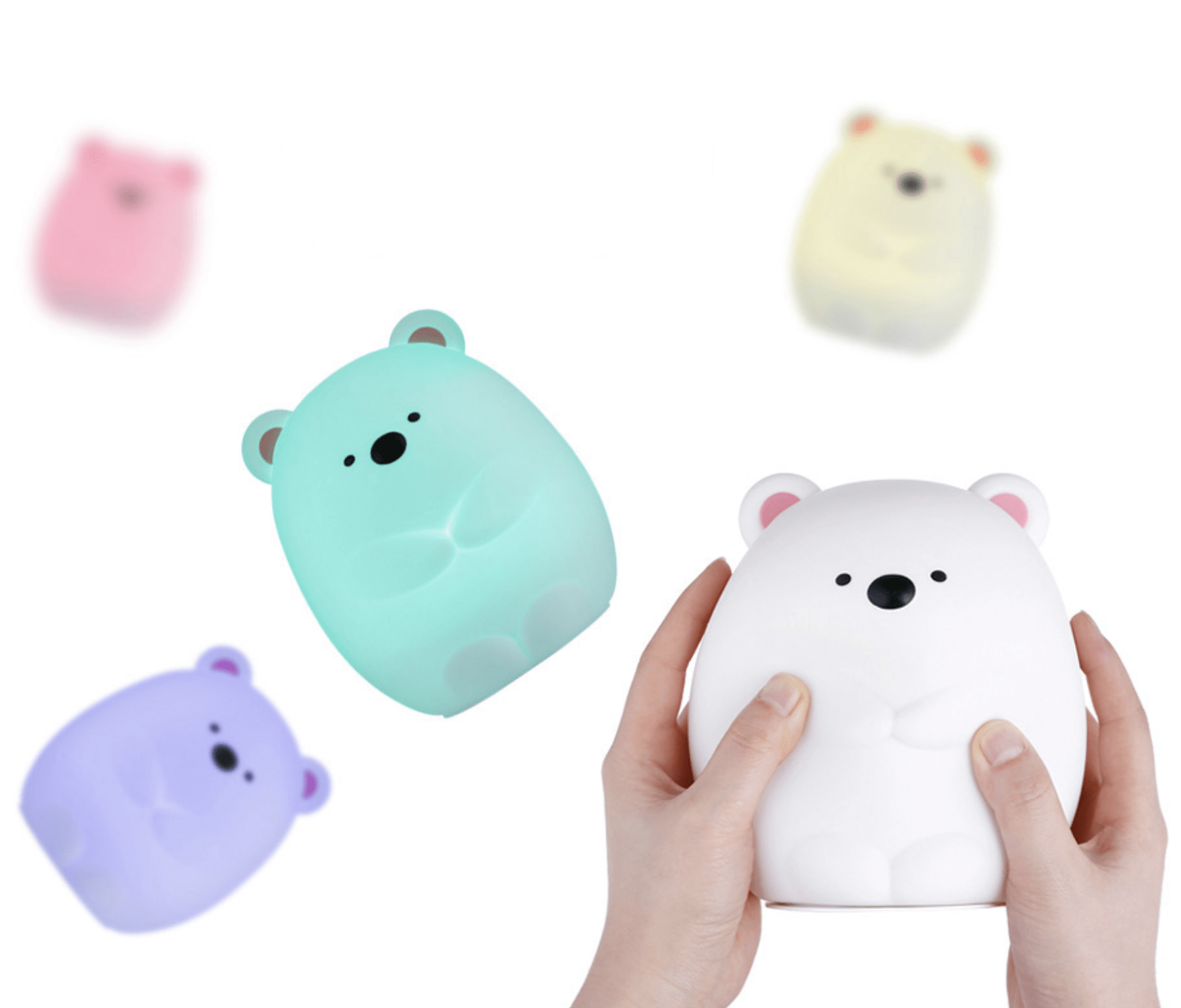 squishy silicone bear night light lamp