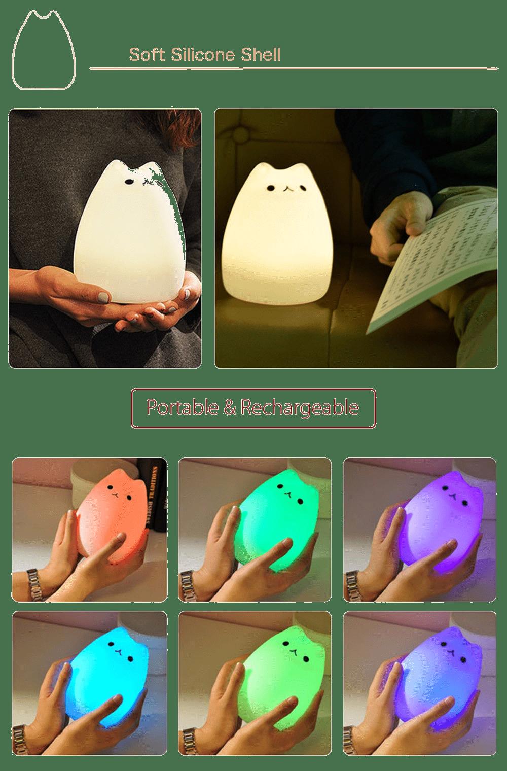 squishy silicone cat night light lamp