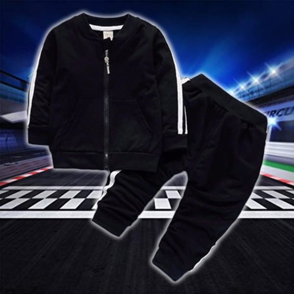 Zip Up Sports Tracksuit for Kids - Black