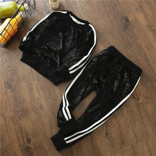 Velvet Sports Tracksuit for Girls - Black