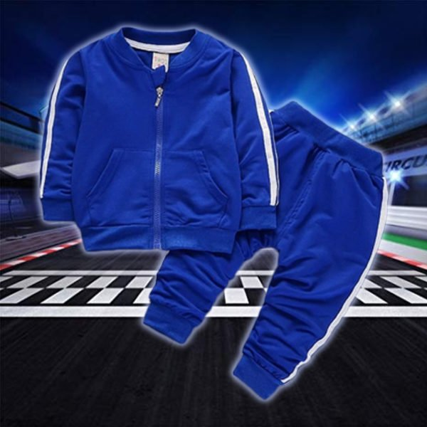 Zip Up Sports Tracksuit for Kids- Blue