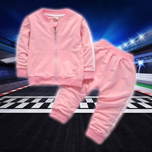 Zip Up Sports Tracksuit for Kids- Pink