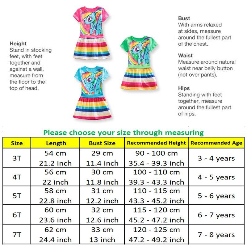 My Little Pony Summer Dress - Size Chart