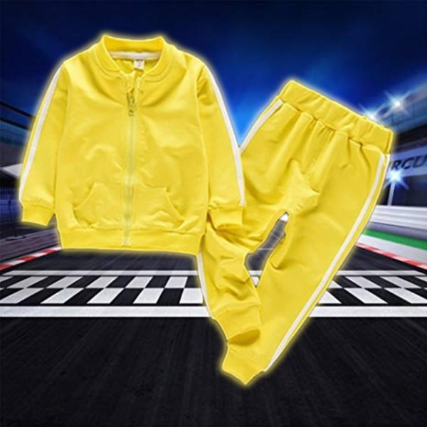 Zip Up Sports Tracksuit for Kids- Yellow