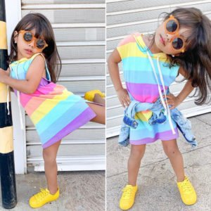 rainbow hoodie dress for girls from 1-7 years