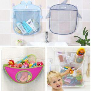 kidsbaron bath toys organizer mesh net suction