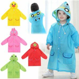 kids rain poncho raincoat 5 colors blue yellow pink green red