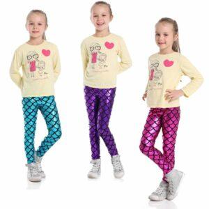 mermaid leggings for kids girls 2-11 years super soft for playtime